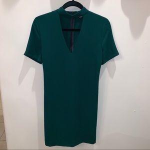 Zara Green V Neck Dress with Choker Detail